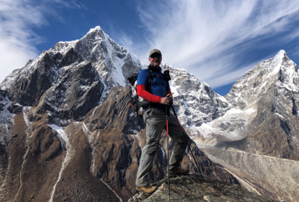 In a stand against knife crime, Dave Mee, along with fellow fundraisers, Will, Alex and Paul, trekked 160km and scaled the 5380m climb to Mount Everest Base Camp in aid of #DropTheKnife.